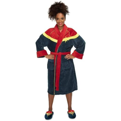 Captain Marvel Fleece Bathrobe 92060 Navy/Red