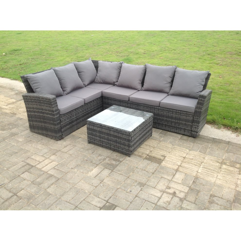 Outdoor Patio Couch Set, Fimous High Back Rattan Sofa Set With Square Coffee Table On Onbuy