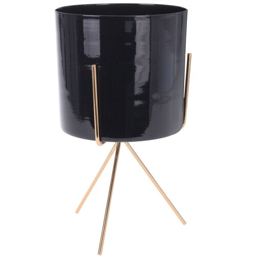 Contemporary Indoor Black Metal Cache Pot With Stand | Decorative Cachepot Planter | Indoor Garden Plant Pot 22.5cm