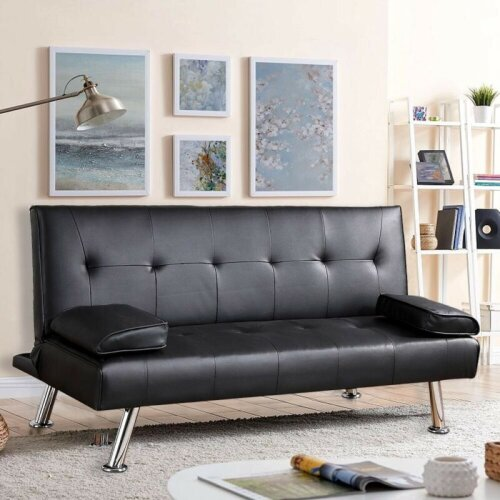 SOFA BED Faux Leather Black Sofa Bed recliner 3 Seater Luxury Modest