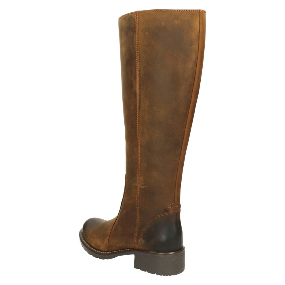 tolerancia soltero Egomanía  Ladies Clarks Knee High Boots Orinoco Eave - Brown Snuff Leather - UK Size  3D - EU Size 35.5 - US Size 5.5M on OnBuy