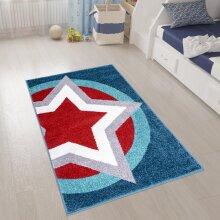 Boys Star Rug Blue Red Super Hero Shield Kids Rugs Carpets Play Room Mats 80x120cm