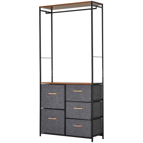 HOMCOM Storage Coat Rack Hallway Bedroom Organiser Shelves w/ Hanger, 5 Drawer