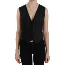 Black Blouse Stripe Floral Vest Top Waistcoat