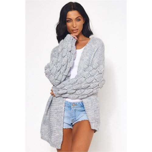 Alessa Chunky Knit Oversized Grey Cardigan