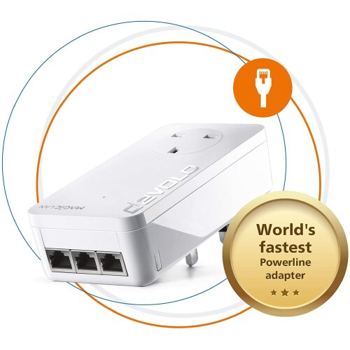 Devolo Magic 2-2400 LAN Triple: Stable Home Working, Add-on Powerline Adapter, Up to 2400 Mbps for Your Powerline Home Network, 3x Gb LAN Ports, Ideal