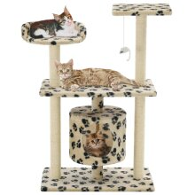 vidaXL Cat Tree with Sisal Scratching Posts 95cm Beige Paw Prints Playhouse