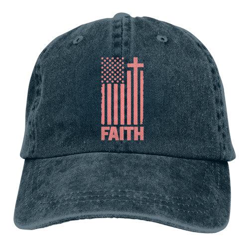 (Navy) Distressed Peach USA Flag Denim Baseball Caps