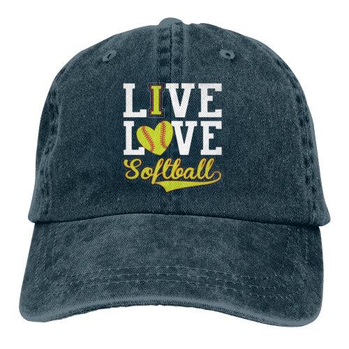 (Navy) LIve Love Softball Denim Baseball Caps