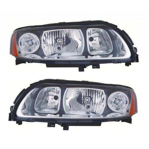Volvo V70 Mk2 5/2005-10/2007 Headlights Lamps Grey Surround 1 Pair O/s & N/s