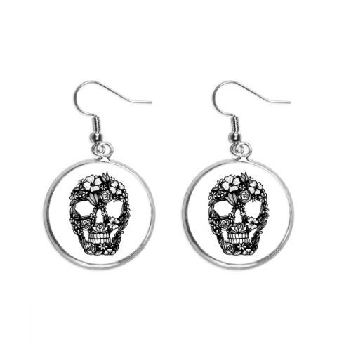Skeleton Flower And Leaf Pattern Ear Dangle Silver Drop Earring Jewelry Woman