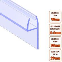 ECOSPA Bath Shower Screen Door Seal Strip 4-6mm Glass Gaps up to 29mm