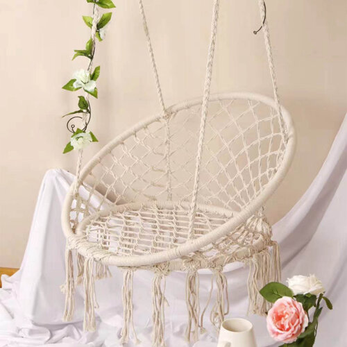 Hanging Macrame Hammock Chair Cotton Woven Rope Swing Chair Seat Beige