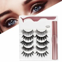 5 Pairs Reusable Magnetic Eyelashes and Eyeliner Kit, Upgraded 3D Magnetic Eyelashes Kit, Magnetic Eyelashes Set with Tweezers Inside, No Glue Needed