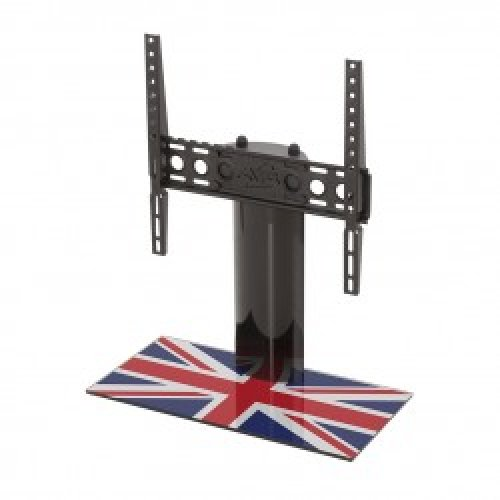 """King Table Top Base Pedestal Stand with Universal Bracket and Union Jack United Kingdom UK Great Britain Flag by TV Furniture Direct (12"""" - 55"""")"""