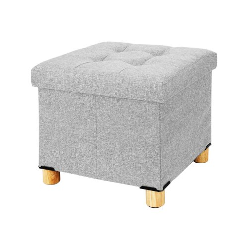 (Light gray) Fabric Foot Rest Stool Storage Space Box Chair Cube Footstool Pouf Bench 4 Legs