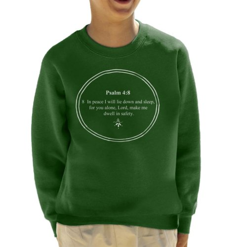 (Large (9-11 yrs), Bottle Green) Religious Quotes Dwell In Safety Psalm 4 8 Kid's Sweatshirt