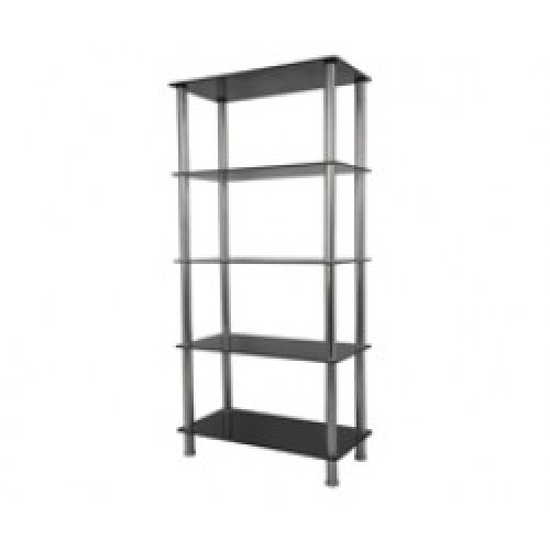 King Black Glass 5 Tier Modern, Organisation Rack, Shelving Shelf Unit, Shelf Width 70cm x 35cm