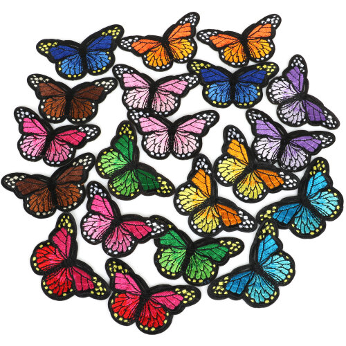 12PC Sew or Iron On Fabric Butterfly Patches in Assorted Colours  - By TRIXES
