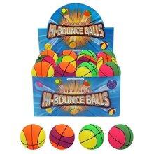 HENBRANDT 24 x Assorted Basketballs Hard Sponge Rubber Hi-Bounce Balls - Wholesale Box