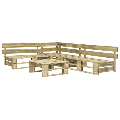 4pc vidaXL Wooden Pallets Garden Lounge Set With Coffee Table