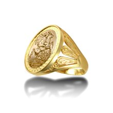Jewelco London Men's Solid 9ct Gold Welsh Feather St George & Dragon Medallion Ring (Full Sov Size)