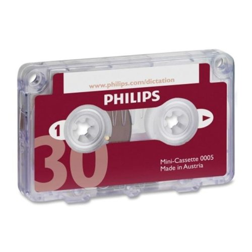 Philips PSPLFH000560 Dictation Mini Cassette, with File Clip, 30 Minutes