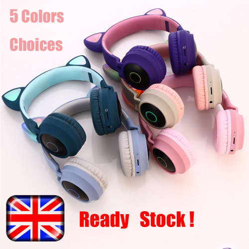 Ready Stock!Wireless Bluetooth 5.0 Headphones with LED Light for Kid