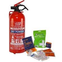 1kg Fire Extinguisher + 1st Aid Kit Ideal Home Car Office Motorhome Set