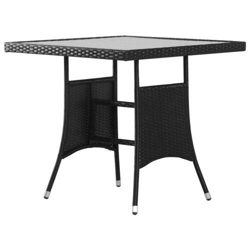 vidaXL Garden Table Black 80x80x74cm Poly Rattan Outdoor Dinner Furniture