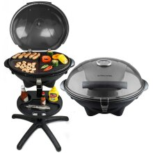 BBQ Electric Grill Barbecue with 5 Temperature Settings Grey,Thermostat, Indoor & Outdoor Party, Removable Drip Tray & Condiment Stand