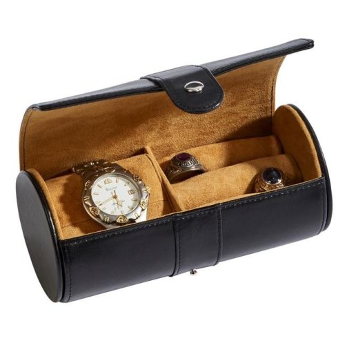 Creative Gifts International 056575 6 x 3 in. Leather Round Jewelry Case, Black