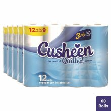 60pk Cusheen Quilted 3 Ply Toilet Paper - White