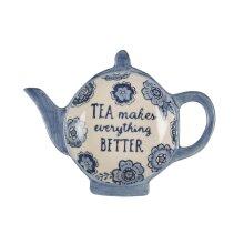Blue Floral Tea Lovers Tea Bag Dish