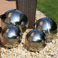 Set of 4 Garden Mirror Stainless Steel Gazing Globes