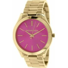 Michael Kors Runway Pink Dial Gold Tone Ladies Watch MK3264 New With Tags