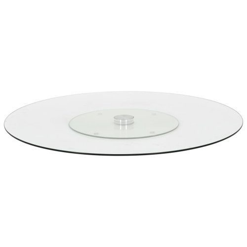 vidaXL Rotating Serving Plate Transparent Tempered Glass Swivel Serving Dish