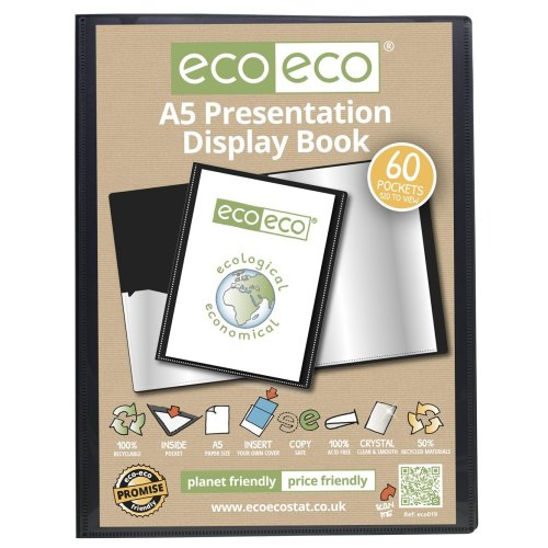 eco-eco Black A5 Presentation Display Book | 60 Pocket Display Folder