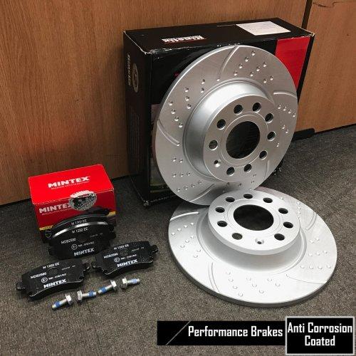 FOR GOLF MK5 GTI REAR KINETIX PERFORMANCE DIMPLED BRAKE DISCS MINTEX PADS 282mm