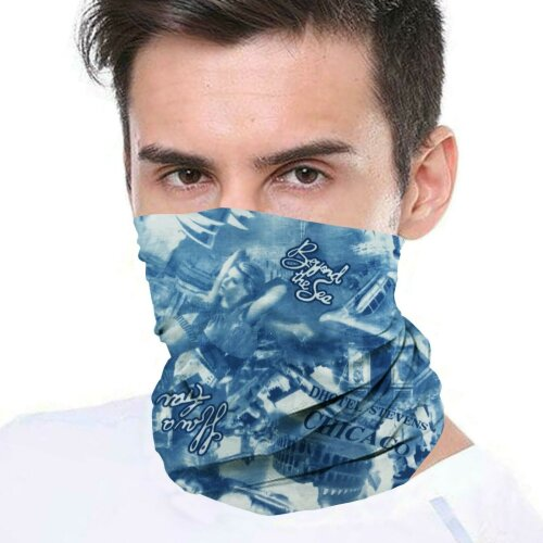 (Blue Chicago) Bandana Face Covering Mask Biker Tube Snood Scarf Neck Cover