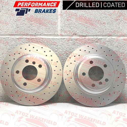 FOR BMW 335i 340i 330d REAR CROSS DRILLED PERFORMANCE BRAKE DISCS PAIR 330mm