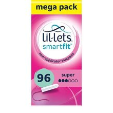 Lil-Lets Non-Applicator Super Tampons X 96   6 Packs of 16   Medium to Heavy Flow, 8210498P