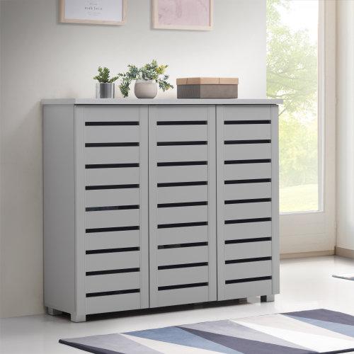 5 Tier Shoe Storage Cabinet 3 Door Cupboard Stand Rack Unit Grey