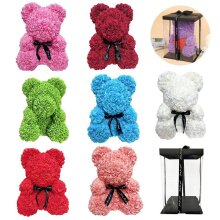 Teddy Rose Bear With Box, Artificial PE Flower, Bear