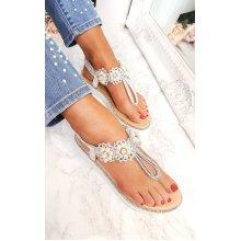 IKRUSH Womens Aviana Pearl Embellished Wedged Sandals