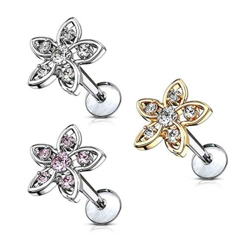 """Gold/Clear, 16GA (1.2mm), 1/4"""" (6mm), Crystal Set Flower Internally Threaded Plated Surgical Steel Flat Back Labret Tragus Cartilage Universal Barbell"""