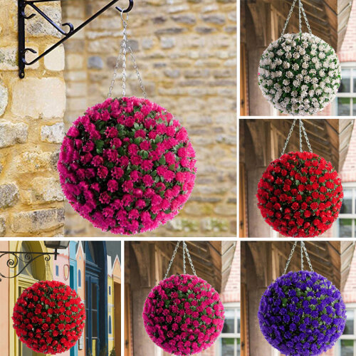 Artificial Rose Topiary Flower Ball Hanging