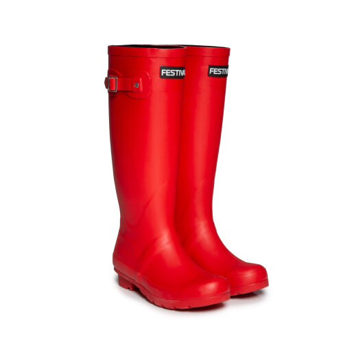 Festival Red Womens Lined Wellington Boot Wellies
