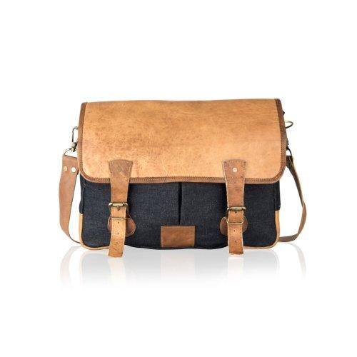 """Woodland Leather Denim Tan Vintage Leather Mix 16"""" Satchel Front Messenger Bag Adjustable Shoulder Strap"""