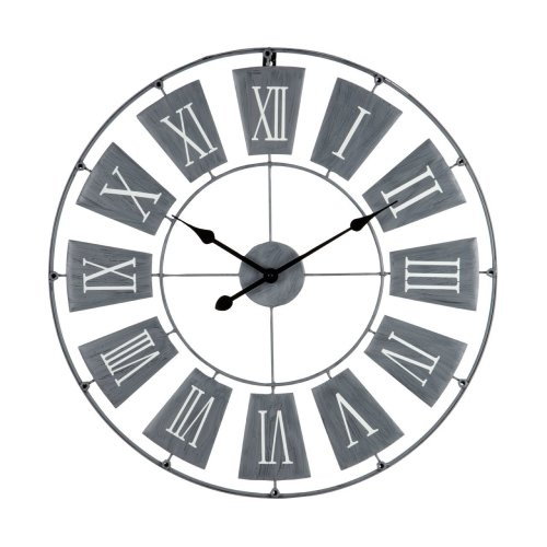 Striking Design Metal Wall Clock Roman Numerals, Grey - 70 x 3 cm